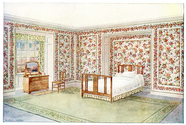 room design 1910 - decorated with wallpaper