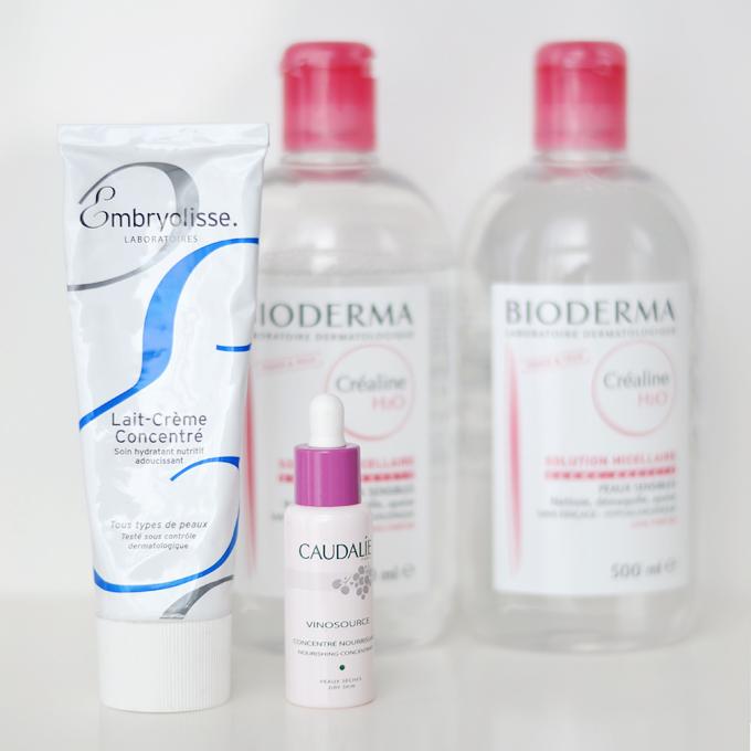 Bioderma Sensibio H2O, Embryolisse LAit-Creme Concentre, Caudalie Vinosource Serum