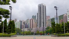 Hong Kong residential buildings and soccer game