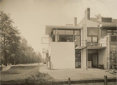 Exterior view of the northeast façade of Schröder House, Utrecht, Netherlands, 1925