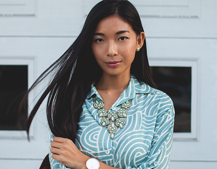 Stephanie Liu of Honey & Silk wearing Plum Pretty Sugar Anouk Boyfriend Shirt