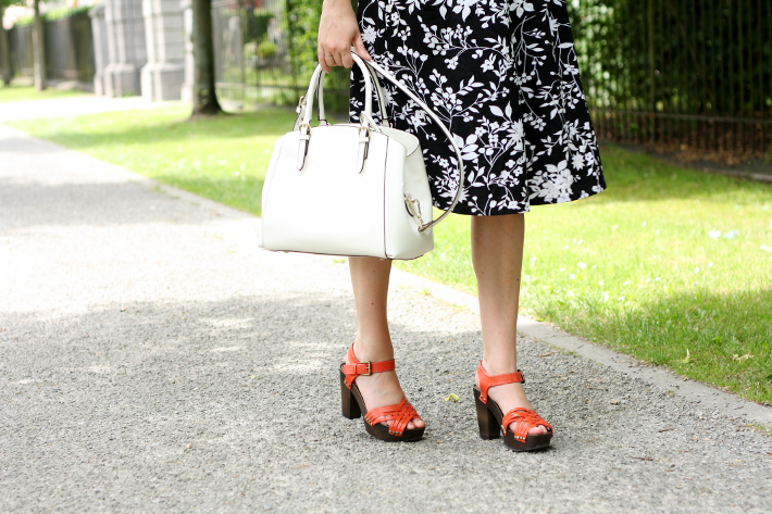 midi skirt clogs white purse