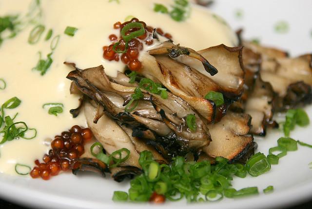 Maitake, potato foam, yuzu, soya sago (S$22)