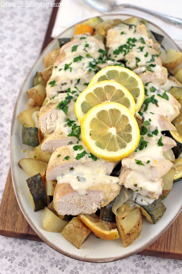Baked Chicken Scampi with Potatoes and Zucchini