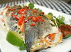 Pan Fried Sea Bass stuffed with Chilli and Corriander