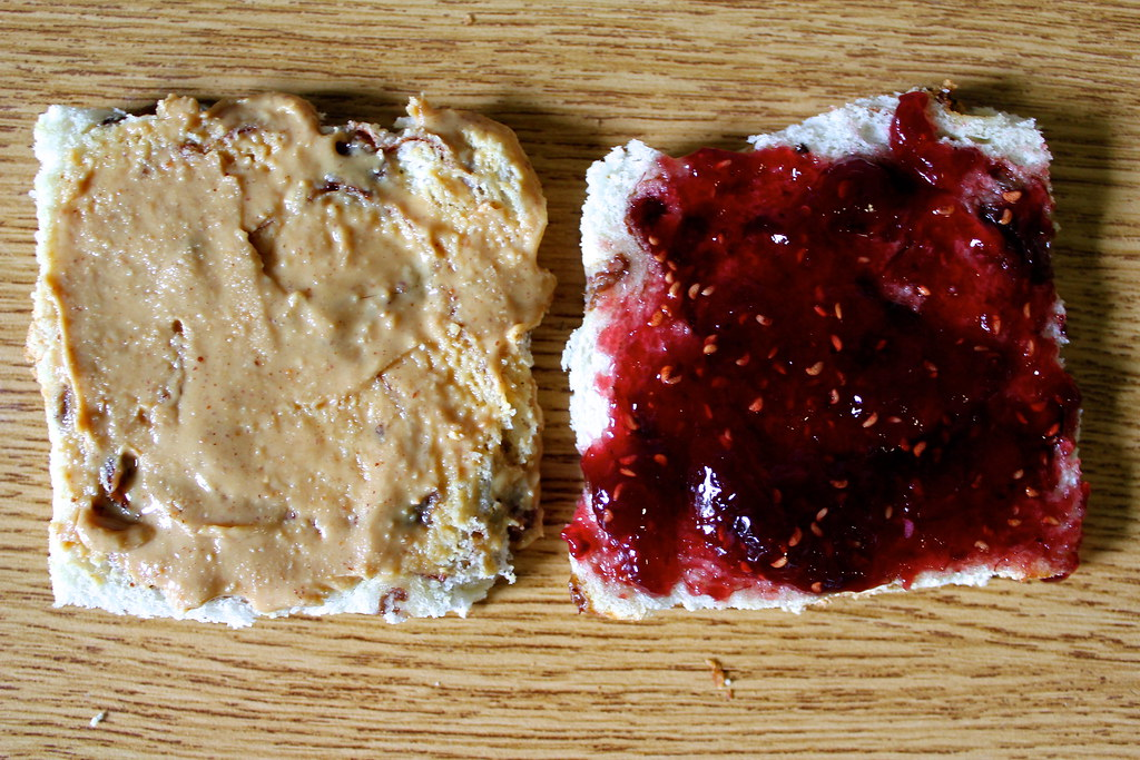 Peanut Butter and Jelly Panini on Cinnamon Swirl Bread