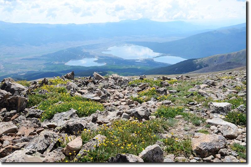 Looking down at Twin Lakes from Mt. Elbert trail 1
