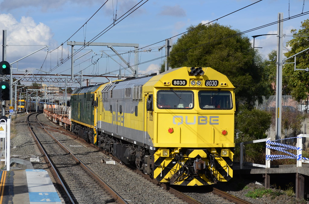 8030 and 8037 lead empty rail sets to lithgow by NR1984
