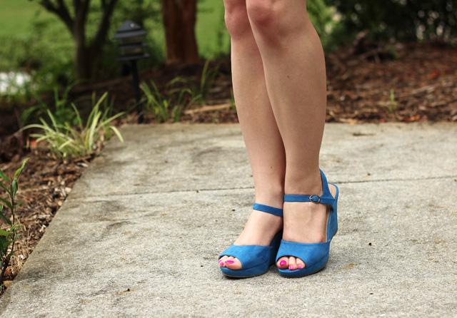 Blue Peeptoe Wedges