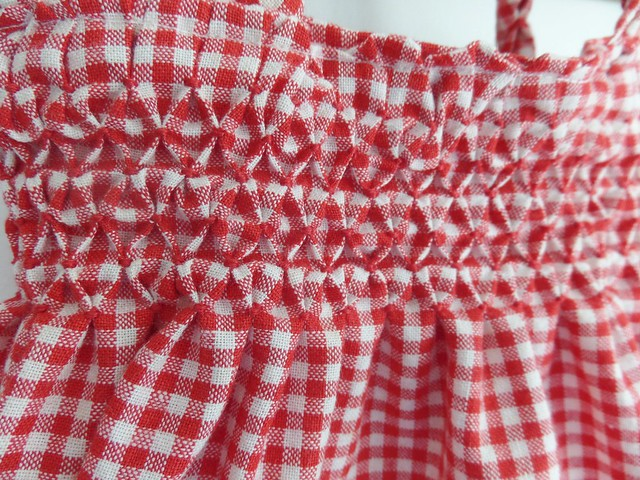Close up of Smocked Peg Bag