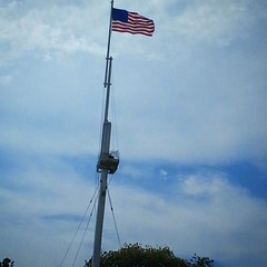 Flag over Charlestown, MD wharf