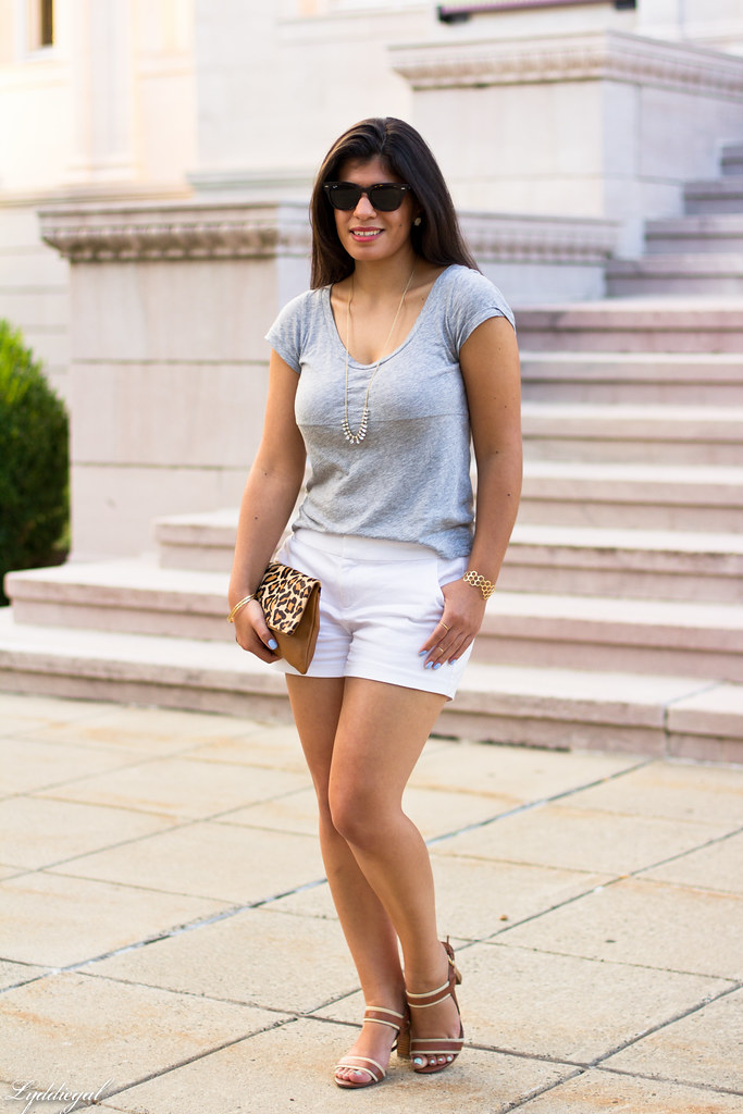 white shorts, grey tee, leopard clutch-7.jpg