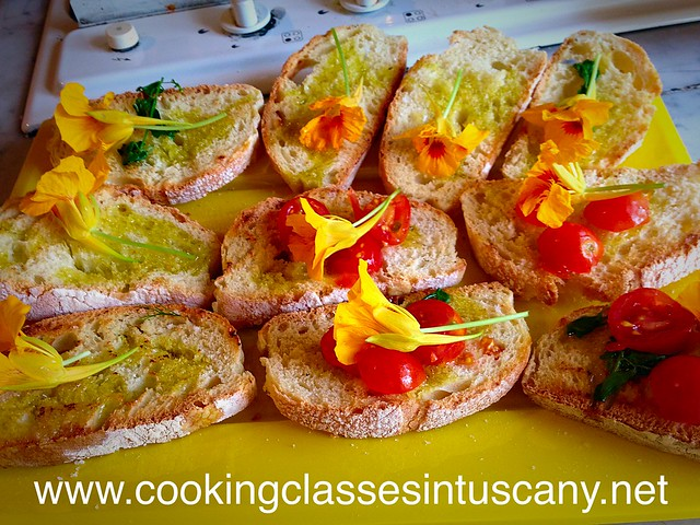 Bruschetta and wild flowers