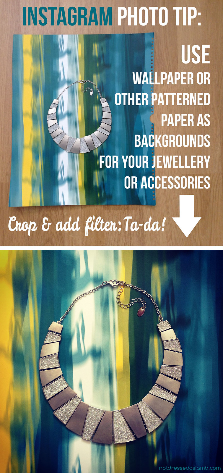 Instagram Photo Tip: Use wallpaper to create backgrounds for your accessories pictures