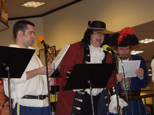 Jack Mayfield, Daniel Kiernan, and Brad Strickland in full pirate regalia.