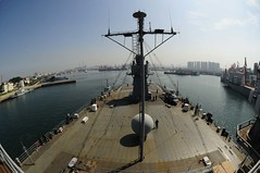 USS Blue Ridge (LCC 19) departs Qingdao, Aug. 8. (U.S. Navy/MC3 Michael Hendricks)