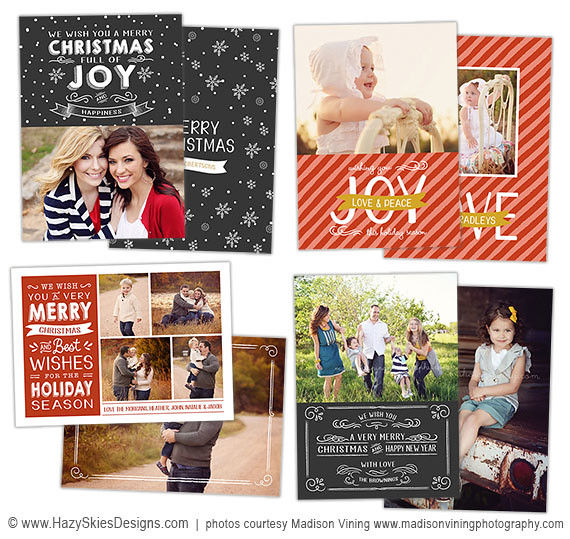 Christmas Card Templates for Photographers www.hazyskiesdesigns.com
