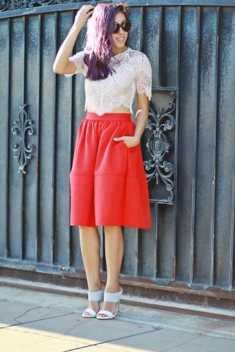 lucky magazine contributor,fashion blogger,lovefashionlivelife,joann doan,style blogger,stylist,what i wore,my style,fashion diaries,outfit,beverly center style,fall fashion,fall trends,beverly center,steve madden,mules,express,full skirt,for love and lemons,lace top,zerouv,purple hair
