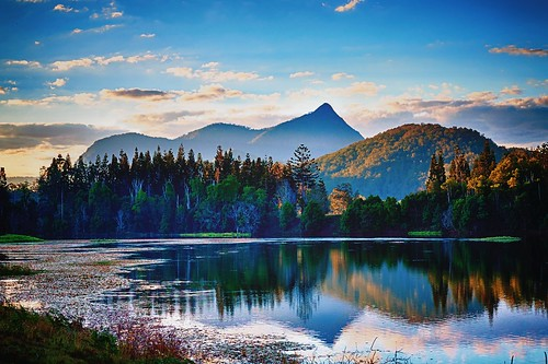 sunset lake mountains nature water reflections landscape volcano natural australia pristine