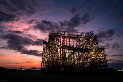 park sunset beach evening amusement pier wooden newjersey ride nj structure roller rides wildwood coaster riders moreyspier oark thegreatwhite philadelphiatoboggancompany