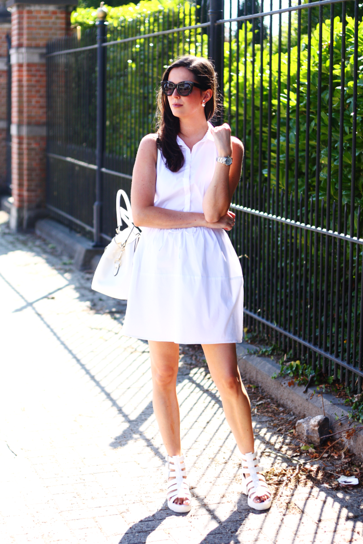 white outfit shirt dress zara gladiator sandals