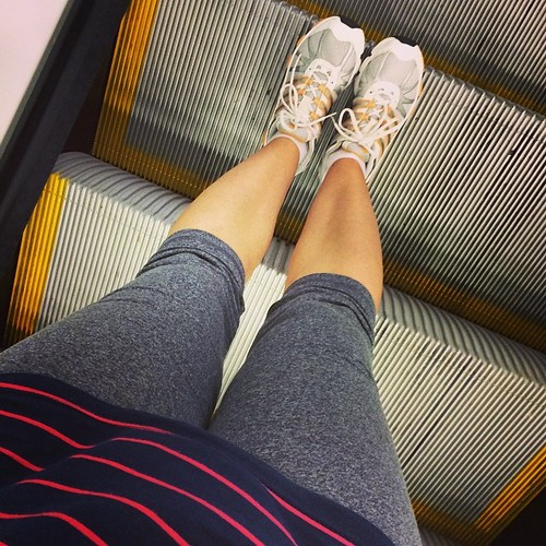 My husband unearthed my tennis #sneakers from before we were married. I only ever wore them to play tennis so they are pristine. Now my new favorite speedy walking #shoes. A bit hypocritical that I am on an #escalator though.