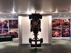 It's not often a racing car (or a scale model of one) is hung vertically!
