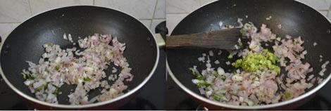 frying onions for cauliflower kurma