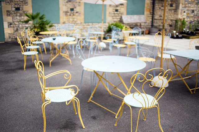 yellow garden furniture