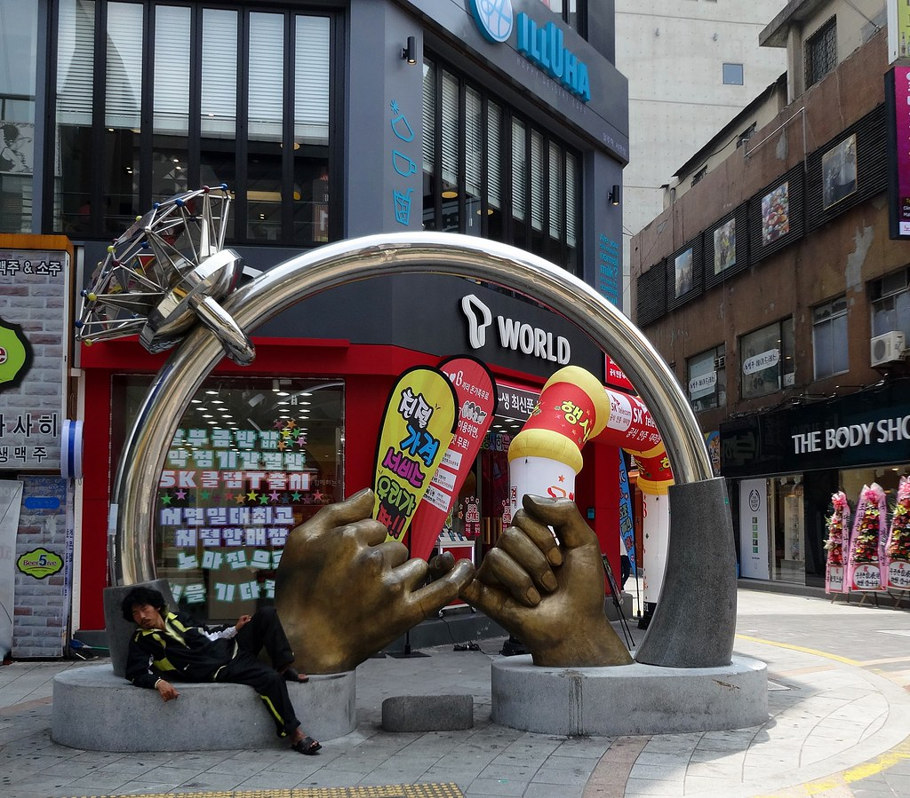 Pinky swear statue Seomyeon Busan Korea this is how we knew to turn down to the hotel