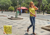Macedonia, Thessaloniki, young blond woman  in TAKE ME TO PARIS  t-shirt, Greece  #Μacedonia