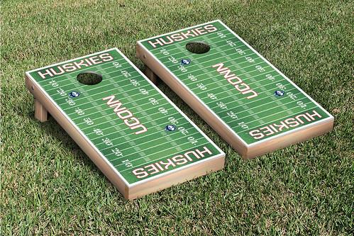 Connecticut UCONN Huskies Cornhole Game Set Football Field Version