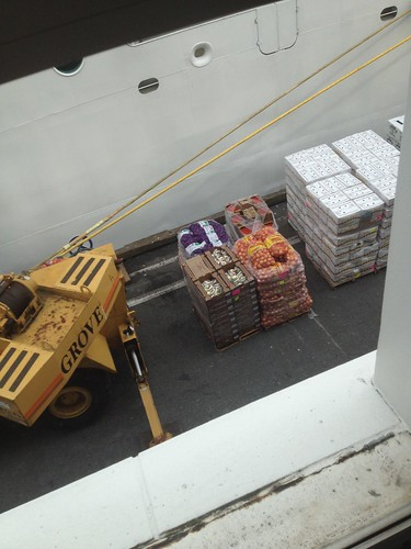 Ship supplies being loaded