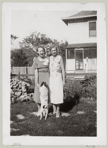 Two women and a dog