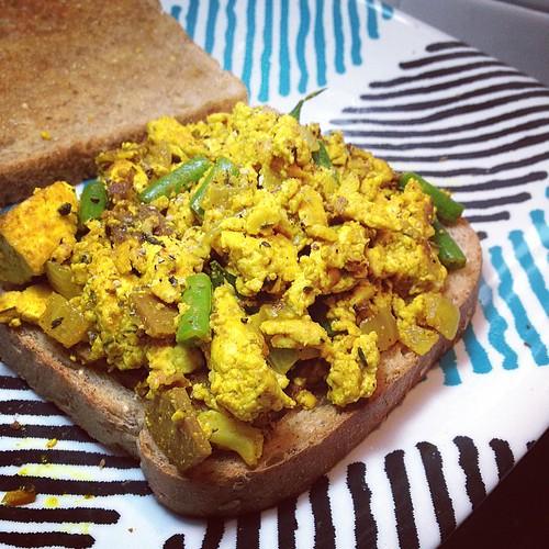 Breakfast: seitan bacon tofu scramble www.good-good-things.com