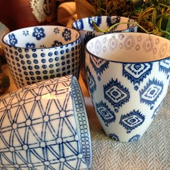 Loving these cups - check out detail inside! #indigo #entertaining #chartreuseandco  #vintagedecor  #barnsale