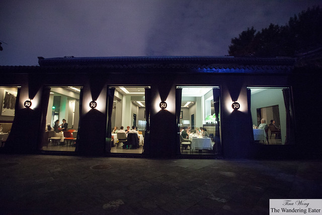 Looking toward TRB's dining room area from the outside at night