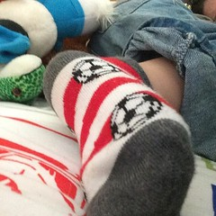 Toddler soccer socks are just plain dumb. And by dumb I mean the cutest thing ever.