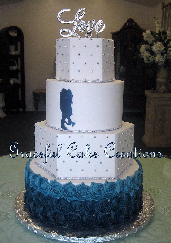 Navy Blue Rosette Cake