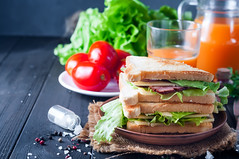 homemade sandwich with a salad