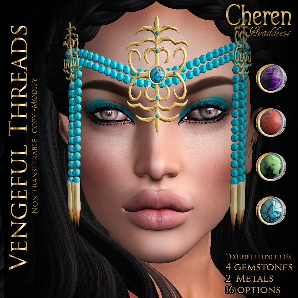 Vengeful Threads - Original Mesh - Cheren Headdress_Ad - SecondLifeHub.com