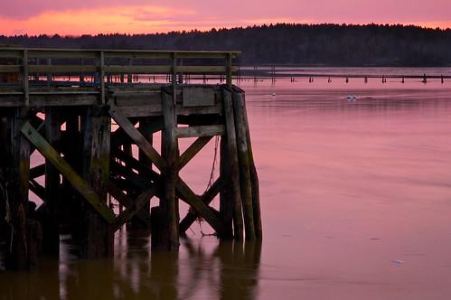 longexposure sunset red seascape landscape bay coast pier wooden sad seasons fort maine calm atkins popham limbo