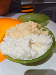 breakfast(0.0), vegetable(0.0), coconut(0.0), produce(0.0), fruit(0.0), meal(1.0), dip(1.0), food(1.0), dish(1.0), dairy product(1.0), sour cream(1.0),