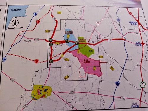 20140717_紅色是中科四期二林園區,631公頃等嘸廠商。現在又要開發藍色 部分352公頃的二林精機,廠商在哪裏?