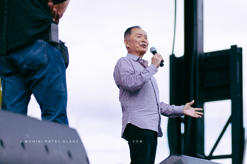 george takei addresses the crowd at seattle center