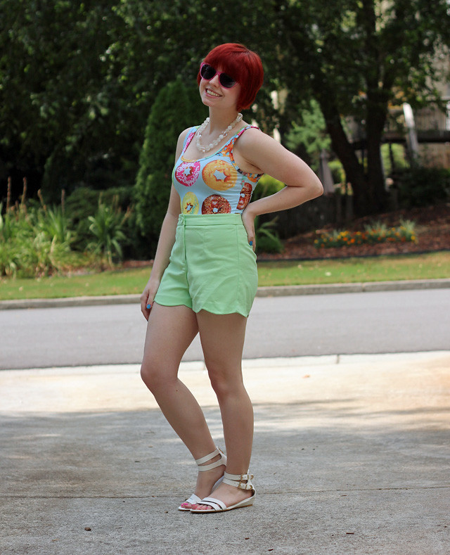 Doughnut Print Bodysuit with Light Green Shorts and White Sandals