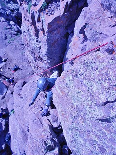 Frank Negotiating the Pillar on Teakettle