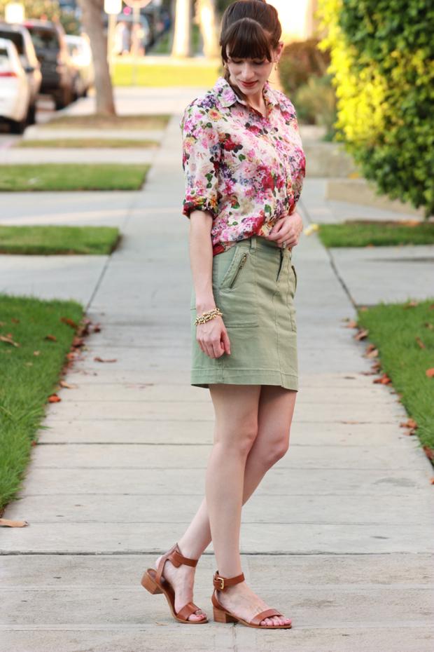 Floral Blouse, Floral Shirt, ShoeMint Sandals