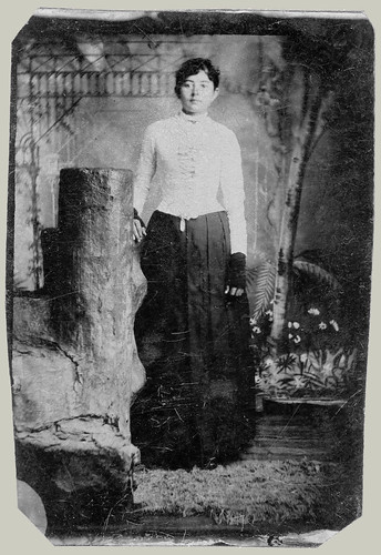 Tintype woman standing