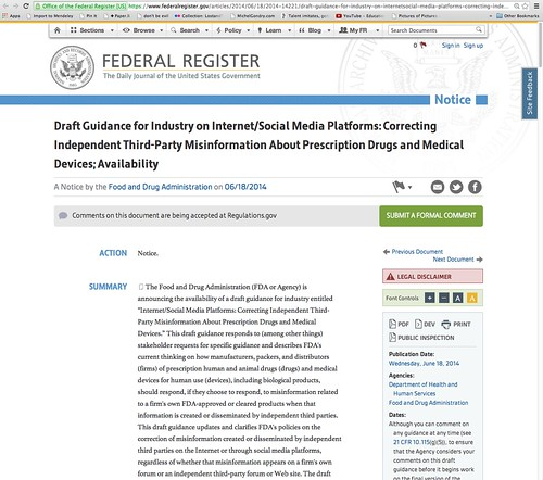 Draft Guidance for Industry on Internet/Social Media Platforms: Correcting Independent Third-Party Misinformation About Prescription Drugs and Medical Devices; Availability